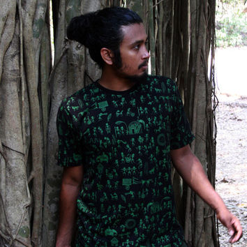 Tribal T shirt- Geometric Shirt- Warli art T shirt- Indian Art- African Print shirt- Trance Clothing-Festival Clothing-Christmas gift men