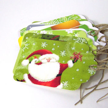 Christmas Gift Tags, Ecofriendly Recycled Holiday Cards, light green / We Wish You A Merry Christmas