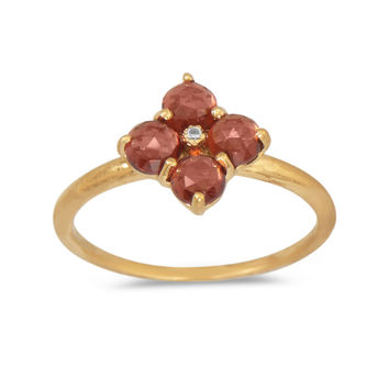14 Karat Gold Plated Ring with Rhodolite Garnet Flower