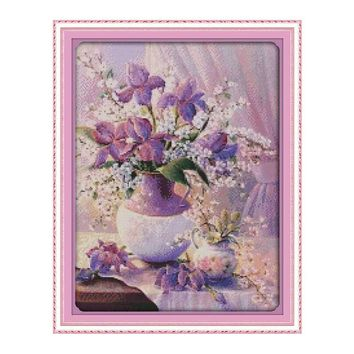 Purple Flowers and Vase - Counted Cross Stitch Kit