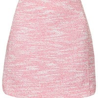 Boucle Curved Hem Mini Skirt - Red