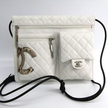 Chanel Ligne Cambon A28125 Women's Leather Shoulder Bag White BF311391