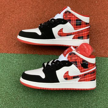 [Free Shipping ]Nike Air Jordan Retro I 1 Mid Bad Santa Plaid Red Black White  554725-607 Basketball Shoes