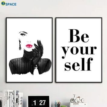 Fashion Girl Inspirational Quotes Wall Art Canvas Painting Nordic Poster Wall Pictures For Living Room Pop Art Print Salon Decor