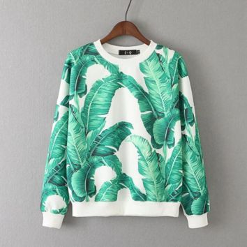 Fashion Autumn Women Hoodies Green Leaves Print Pullovers Long Sleeve Sweatshirts