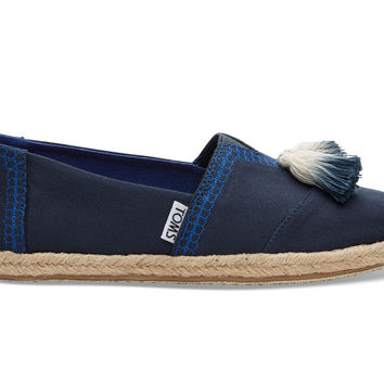 Blueberry Canvas Tassel Women's Espadrilles