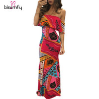 Bohemia Style Floral Printed Long Beach Dress Women Slash Neck Ruffles Off Shoulder Summer Maxi Dress Fashion robe sexy Sundress