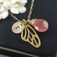 Personalized Necklace, Butterfly Wing, Initial Jewelry, Birthstone Jewelry, Wing Initial Necklace, Christmas Gift, Granddaughter Gift, Gold