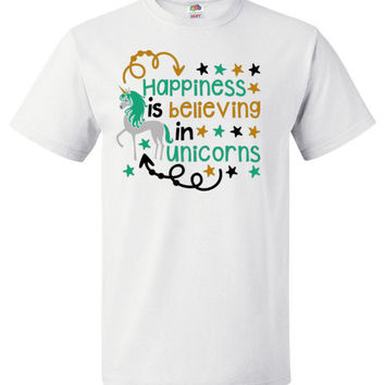 Happiness is Believing in Unicorns Adult and Youth Short Sleeve Shirt