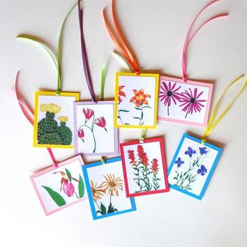 Wildflower Gift Tags - Set of 8 - Colored Pencil Drawings on Card Stock