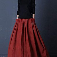 SUFEI Women's Linen Skirt Long Skirts Plus Size Red