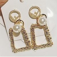 Fendi Women Fashion New Pearl Letter Long Earring Accessories Golden
