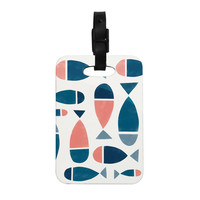 "Alik Arzoumanian ""Fish"" White Blue Decorative Luggage Tag"