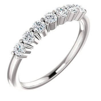 Clover Round Moissanite Shared Prongs Anniversary Band