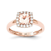 14k Rose Gold Cushion Morganite & Diamond Halo Ring