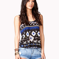 Tribal Print Tulip Back Tank