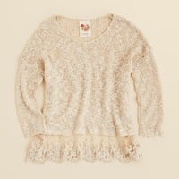 Kiddo Girls' Lace Hem Sweater - Sizes S-XL