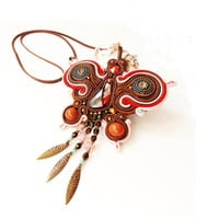 Soutace jewelry.Soutache pendant.OOAK jewelry.Handmade jewelry Soutache Jewelry with Swarovski Elements.Autumn pendant.