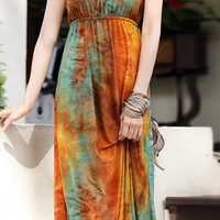 Bohemian Floral Design Sleeveless Maxi Dress