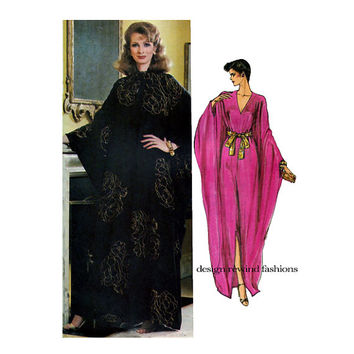 1980s WOMENS CAFTAN PATTERN V-Neck Boho Evening Caftan Gown Dress Vogue 8099 UNCuT Womens Sewing Patterns Bust 34 36 Size 12 14 Medium