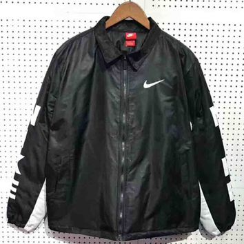 """NIKE"" Women Men Fashion Long Sleeve Cardigan Bread Down Coat Cotton-padded Clothes Jacket G-WMGCD"