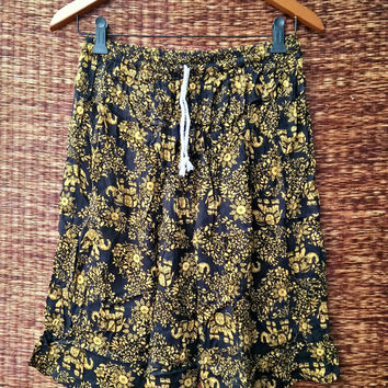 Unisex Men shorts elephants print Boho Hipster fabric print Festival Summer fashion clothes Clothing Beach Style comfy Rayon in Yellow