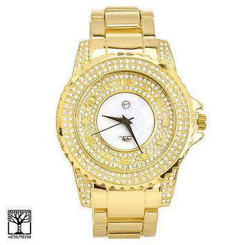 Jewelry Kay style Techno Pave Men's Fashion Gold Plated Icy CZ Metal Band Watches WM 8661 G