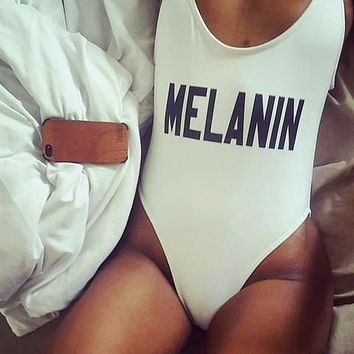 MELANIN Sexy One Piece Funny Swimsuit 2017 Women Swimwear California Beachwear Backless Monokini Bathing Swim Suits Bodysuit