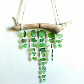 Green sea glass mobile// Sea glass// Sea Glass decor// Sea Glass Mobile// Beach glass mobile