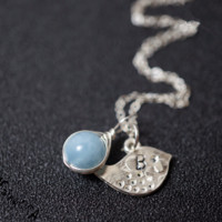 Aquamarine Necklace in Sterling Silver ,Initial Bird Necklace, Initial Jewelry  Wrapped Stone Pendant