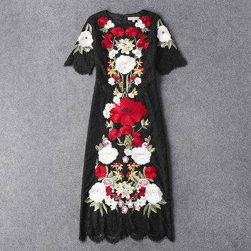 New 2017 spring summer luxury brand runway women black lace dress sexy floral daisy embroidery midi mid-calf dresses Italian HOT