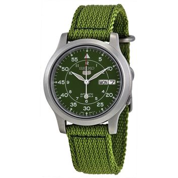 Seiko 5 SNK805K2 Men\'s Green Fabric Band Military Dial Automatic Watch