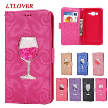 For G530 3D Red wine glass Quicksand Liquid Flip Leather Case For Samsung Galaxy Grand Prime G530H G530 Cases Mobile Phone Shell