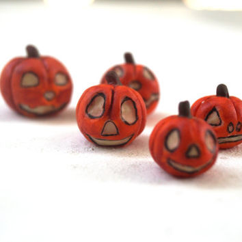 Halloween Spooky Pumpkins Jack o Lantern Handmade Glow In The Dark, Set Of 5 Miniature Polymer Clay