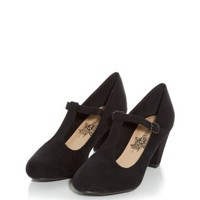 Teens Black T Bar Low Court Heels