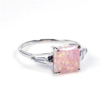 Sterling Silver Princess Cut 7MM Pink Lab Opal Ring