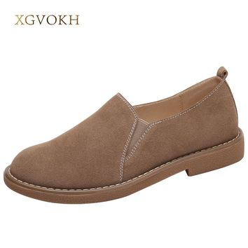 XGVOKH Loafers & Slip-Ons Shoes Women casual Leather Shoes Round Toe Spring Autumn Sol