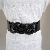 Black elastic belt, wide belt, vintage belt, cord belt, infinity belt, sailor knot belt, size small, faux leather belt, skirt belt