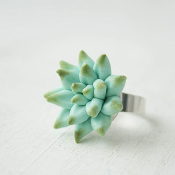 Big Blue Succulent Planter Ring Statement succulent ring Succulent Jewelry Birthday Valentine's Mother's day gifts