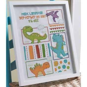 "Dino Baby Birth Record Counted Cross Stitch Kit-10.5""X13.25"" 14 Count"
