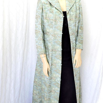 Chinese opera coat / size L XL / rare antique vintage 1940s silk opera coat / WWII 40s long sky blue evening coat / Oriental opera coat