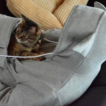 """Hoodies With Cuddle Kangaroo Pouch for Cats with Ears on Hood fun Sweatshirt """"FREE SHIPPING"""""""