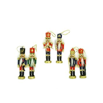 """Pack of 6 Red Blue and Gold Decorative Wooden Christmas Nutcracker Ornaments 5"""""""
