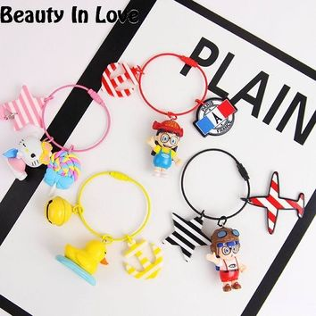 Cartoon Arale Hello Kitty Duck Bunny Rainbow Keychain Women Leather Trinket Metal Key Chains Ring Car Bag Pendent Charm D109