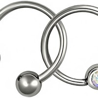 """Set of 2 Rings: 16g 3/8"""" (10 mm) 316L Surgical Steel Aurora Borealis CZ CBR Hoop and Horseshoe"""