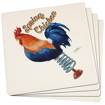 Spring Chicken Funny Set of 4 Square Sandstone Coasters