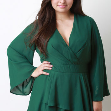 Wide Sleeves Surplice Ruffled Romper
