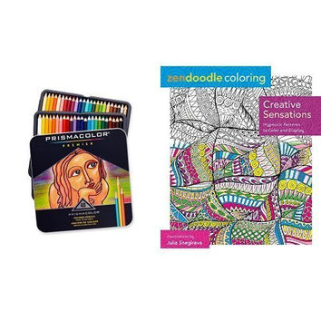 Zendoodle Coloring: Creative Sensations: Hypnotic Patterns to Color and Display and Prismacolor Premier Soft Core Colored Pencil, Set of 48 Assorted Colors