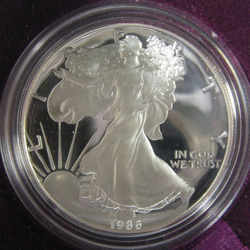 Silver Eagle Dollar Coin, 1986 US Proof Silver Eagle, USA Proof Silver Dollar, Silver Proof Coin, Walking Liberty, Fine Silver, Silver Proof