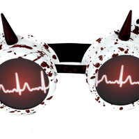 Blood Splatter Medical Heart Rate Goggles Spike Cosplay Glasses